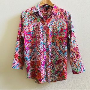 LRL RALPH LAUREN bohemian print top shirt paisley